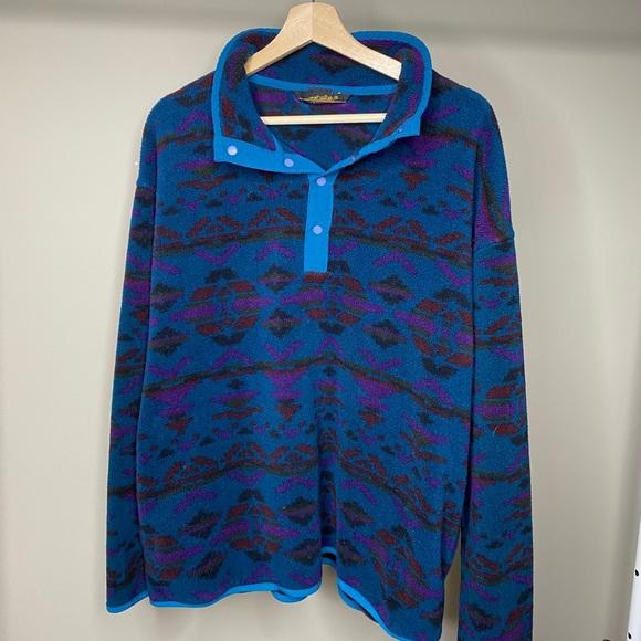 Eddie Bauer Teal Aztec Print Pullover